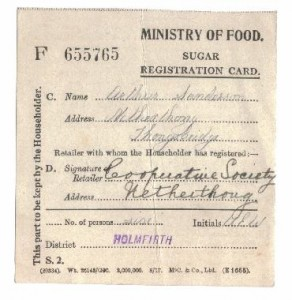 Ministry of Food Sugar Registration Card Dec 1917