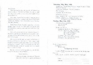 May 1959 Dedication programme.
