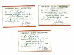 Certicates issued to 3 of the members of the Clothier's winning dart team for 1941/42
