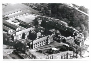 Aerial view of the Institution showing Miry Lane cottages in top right hand corner