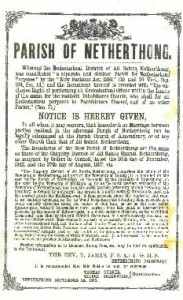 Parish of Netherthong notice dated 1886