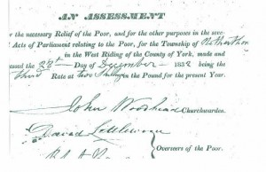 An Assessment for Relief of the Poor 1832.