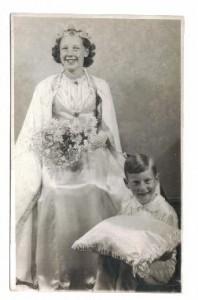 1946 School Queen , Yvonne Fielsend and page, John Sanderson.