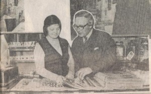 Kenneth & Marion Hird in their newsagents 1983.