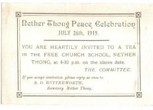 Peace Celebration invitation July 16 1919.