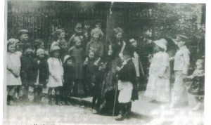 mm26.Fancy dress procession outside church - Golden Jubille 1897 or Coronation 1902 ?