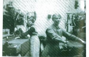 Ladies working on looms?