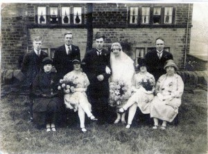 Wedding photo of Arthur Roebuck and Edith Rothery at Sands farm.