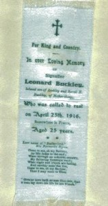 Signaller Leonard Buckley.Killed April 25, 1916