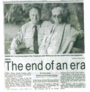 Article on the retirement of Peter Tempest and Jackie Whiteley