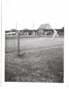 Tennis court with bowling green on the left. 1920s? Deanhouse ?