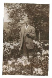 Arthur Sanderson, born 1856, in his garden in 1900s.