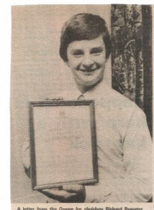 Choirboy with letter from the Queen