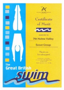 Certicate of Merit awarded to 7th. Holme Valley Scout Group